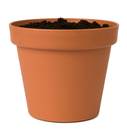 Flower pot with soil  photo