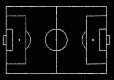 football pitch: Football pitch on a blackboard