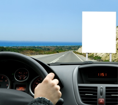 publicity: Billboard seen from the inside of a car