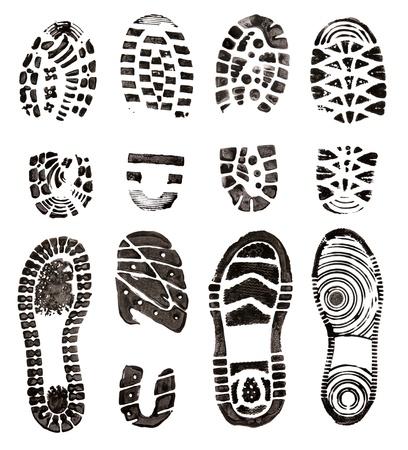 huella pie: Zapatos impresiones Foto de archivo