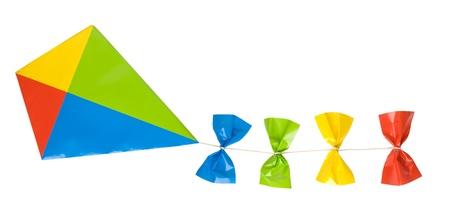 凧: 白い背景で隔離の凧