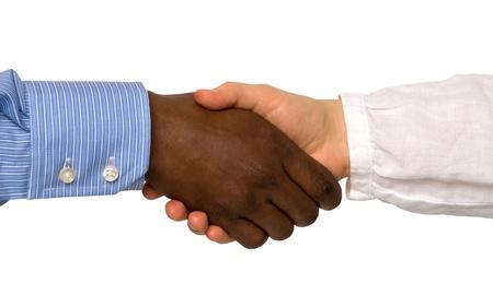 racisme: Handshake geïsoleerd