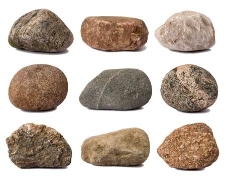 흰색에 고립 된 바위