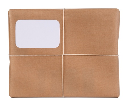 Parcel with blank space for address  Stock Photo