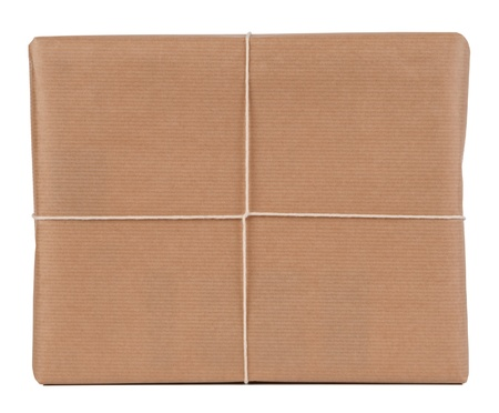 pack string: Brown paper parcel isolated on white