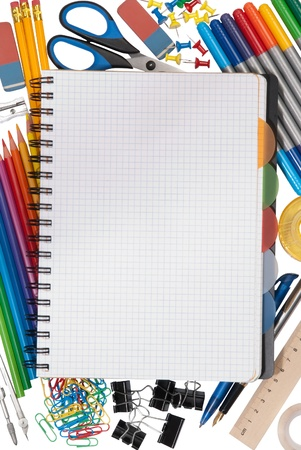 Notebook with stationary objects in the background  photo