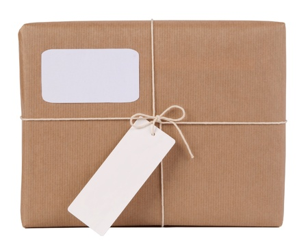 Parcel with blank space for address and blank note photo