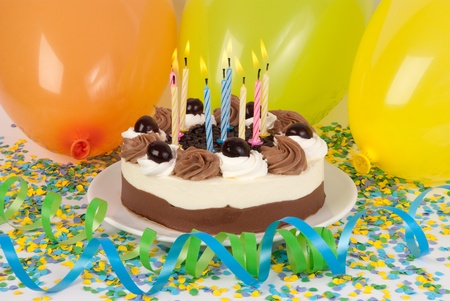 Birthday cake with colorful decoration  Stock Photo - 10865450