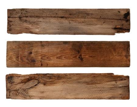 Vieilles planches isolées sur fond blanc