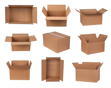 storage box: Cardboard boxes isolated on white