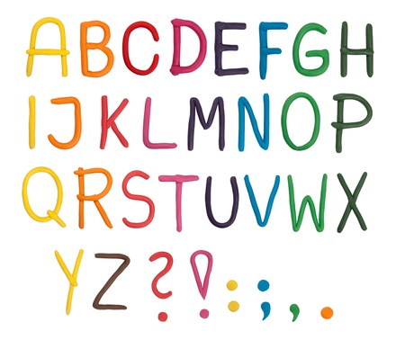 Plasticine alphabet isolated on white  photo
