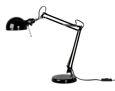 Black desk lamp isolated on white