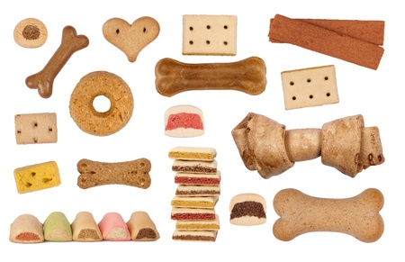 Dog treats isolated on white background