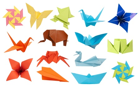 origami bird: Origami paper toys collection Stock Photo