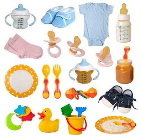 Baby goods isolated on white background