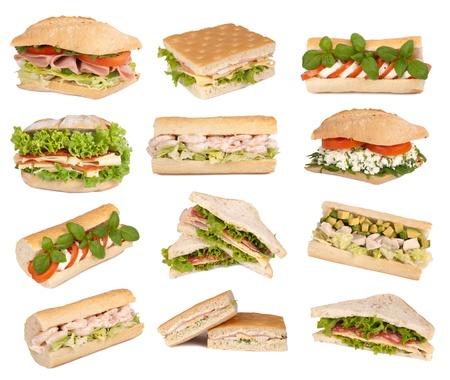 sandwich: Sandwiches aislados en blanco