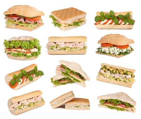 avocado: Sandwiches isolated on white