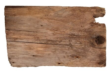 Old wooden board isolated on white background photo