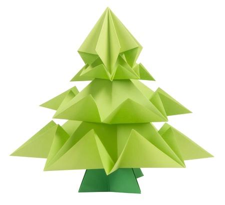 Origami Christmas tree isolated on white background