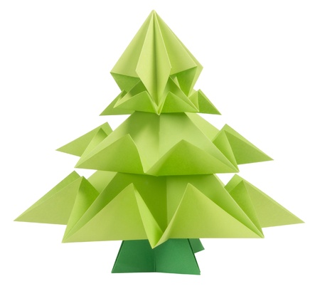 handmade paper: Origami Christmas tree isolated on white background