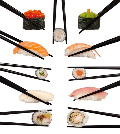 Collection of various types of sushi isolated on white  photo