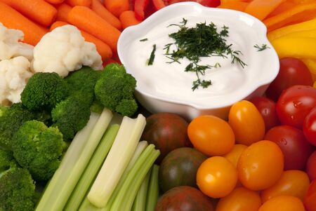 belly pepper: Fresh vegetables with dip  Stock Photo