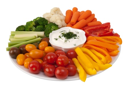 belly pepper: Fresh raw vegetables with dip on a plate  Stock Photo