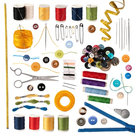 people sewing: Sewing accessories isolated on white