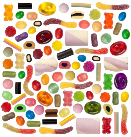Candy variety isolated on white