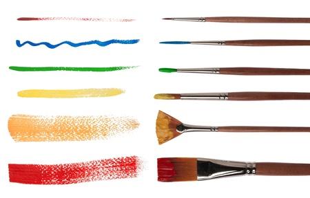 Paintbrushes with brush strokes   Stock Photo - 15320310