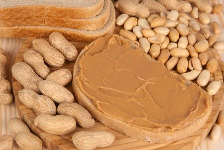 allergic ingredients: Bread with peanut butter  Stock Photo