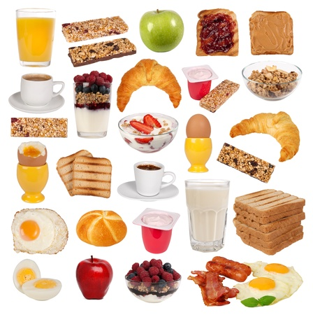 jam sandwich: Collection of various types of breakfast Stock Photo
