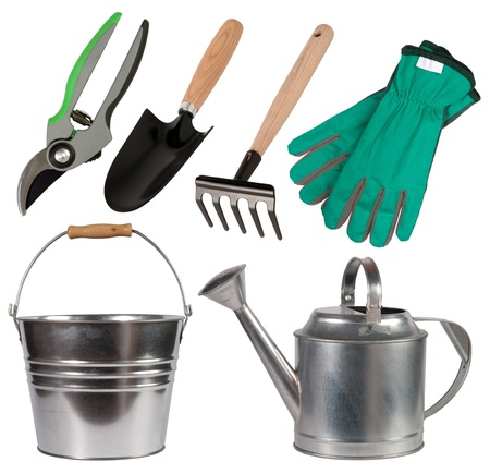 watering can: Gardening tools isolated on white background