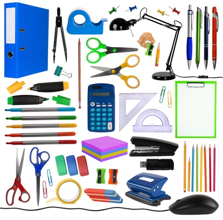 Office objects isolated on white background  photo