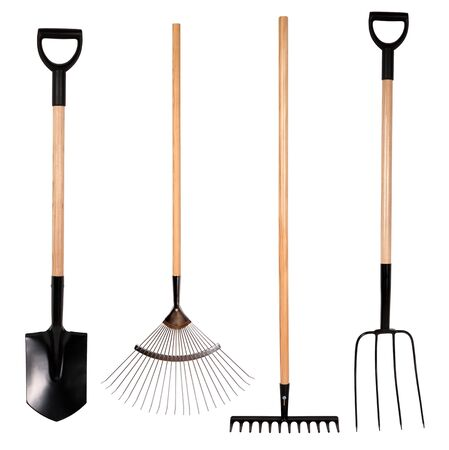 spade: Gardening tools, spade, fork and rake isolated on white
