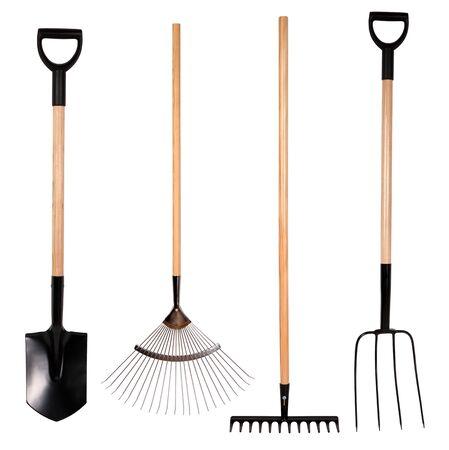 Herramientas de jardinería, pala, rastrillo y tenedor aislados en blanco Foto de archivo