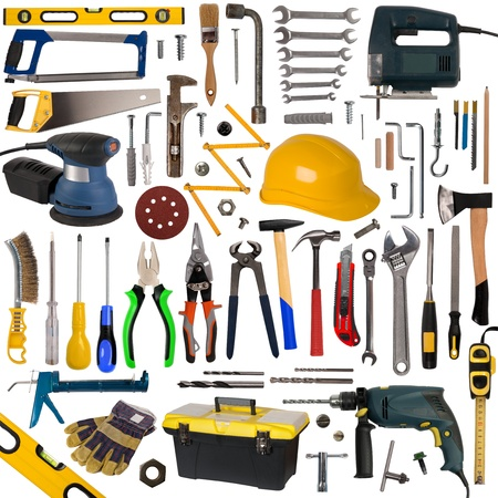 herramientas de carpinteria: Colección de herramientas aisladas sobre fondo blanco Foto de archivo
