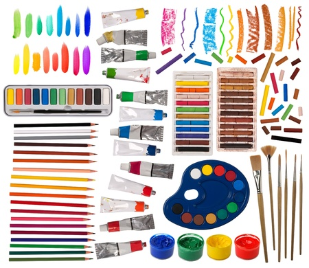 Brushes, paint, pencils and other artistic equipment  photo