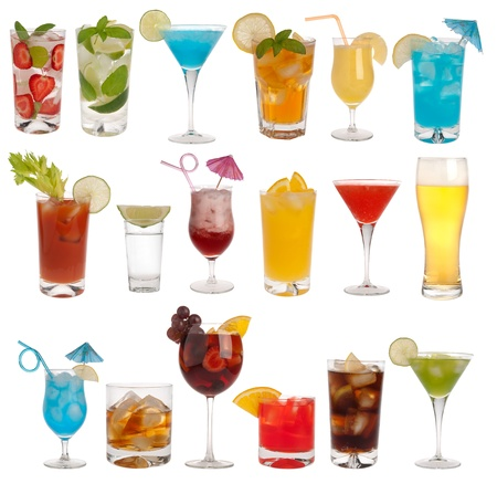 Drinks, coctails and beer isolated on white background photo