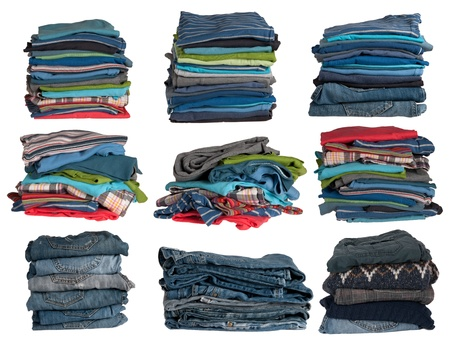Clothes stacks isolated on white background  photo