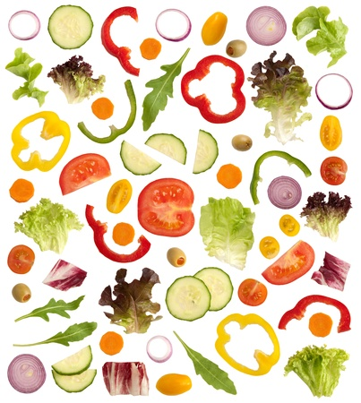 Cut raw vegetables isolated on white background  Stock Photo