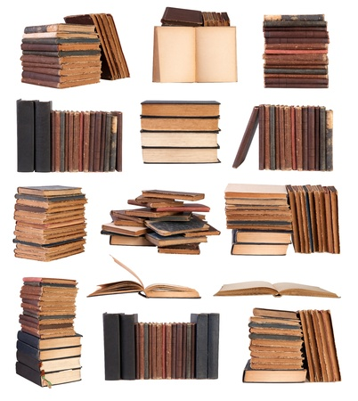 book binding: Old books isolated on white background
