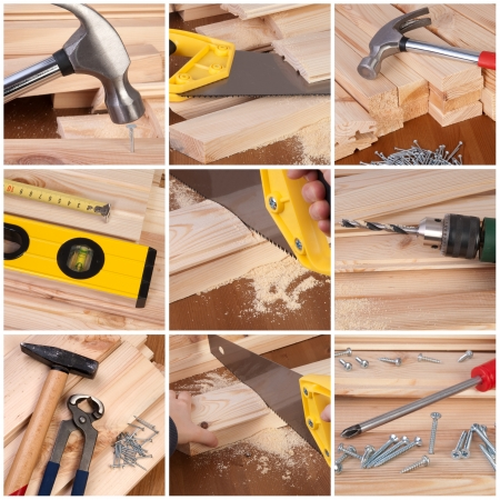 Woodwork and carpentry tools collage