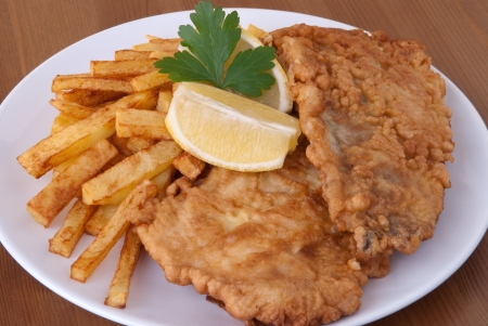 Fish and chips on a plate  Banco de Imagens