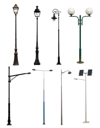 metal post: Lamp posts isolated on white background  Stock Photo