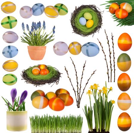 Easter decorations collection isolated on white background Imagens - 21151661