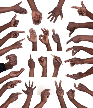 manos: Colección de gestos de mano aisladas sobre fondo blanco
