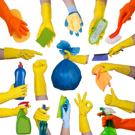 broom: Hands in rubber gloves doing housework isolated on white background
