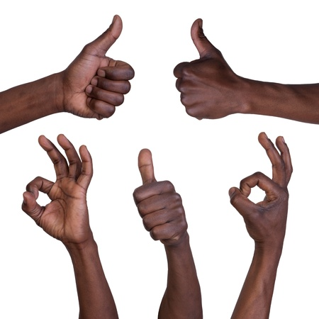Thumbs up and okay gestures isolated on white background