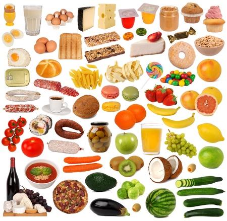 Collection de nourriture isol?e sur fond blanc  Banque d'images